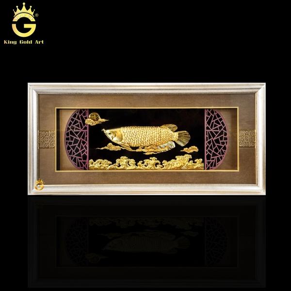 Tranh cá rồng phong thuỷ dát vàng 24K