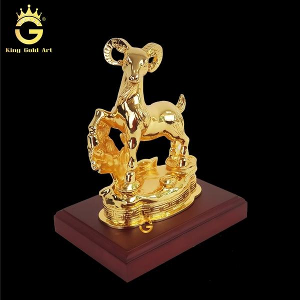 Tượng dê đồng mạ vàng 24k