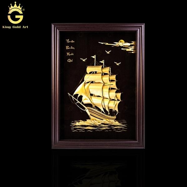 Tranh vàng thuyền buồm vàng lá 24k 3d mang lại không gian sang trọng