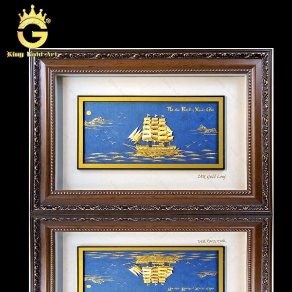 Tranh thuận buồm xuôi gió dát vàng 24k quà tặng tân gia