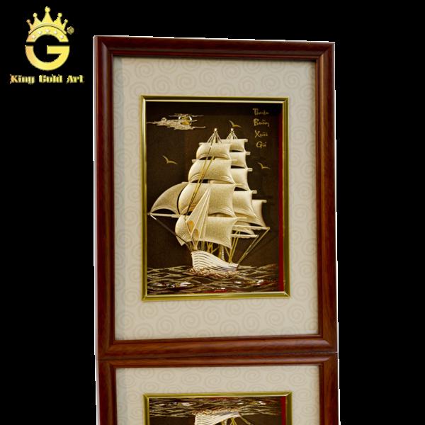 Tranh thuyền buồm dát vàng 24k, quà tặng khai trương Hồng Phát