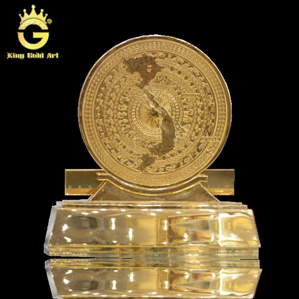 Quà tặng mặt trống đồng đông sơn đế mạ vàng 24k