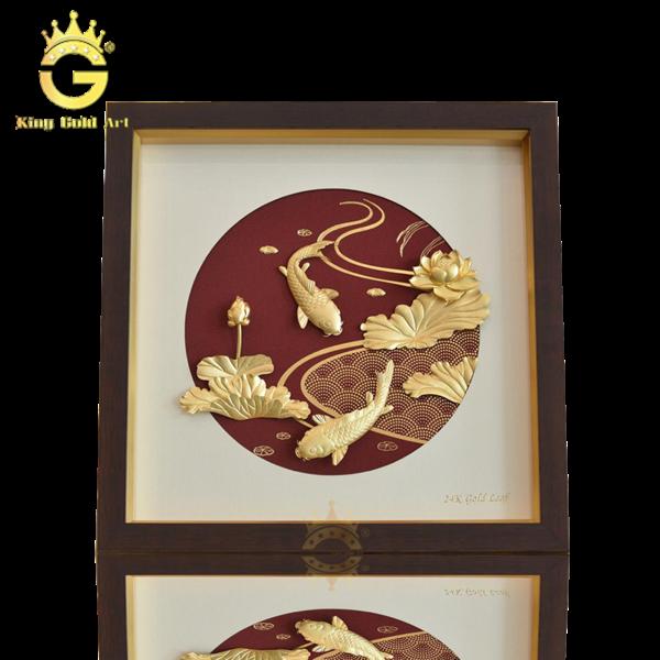 Quà tặng sếp nữ - Tranh cá chép hoa sen dát vàng 24k