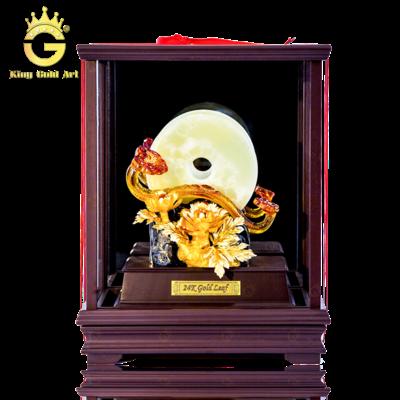 Biệu tượng Gậy như ý bằng ngọc quý lưu ly mạ vàng 24k hộp kính sang trọng