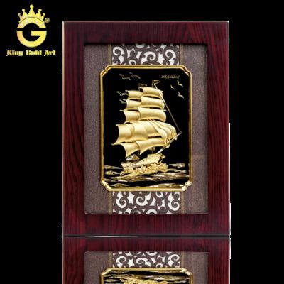 Tranh thuận buồm xuôi gió dát vàng 24k, quà tặng tân gia ý nghĩa