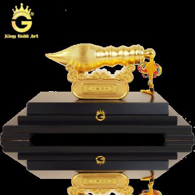 Biểu tượng bút lông bằng đồng dát vàng 24k