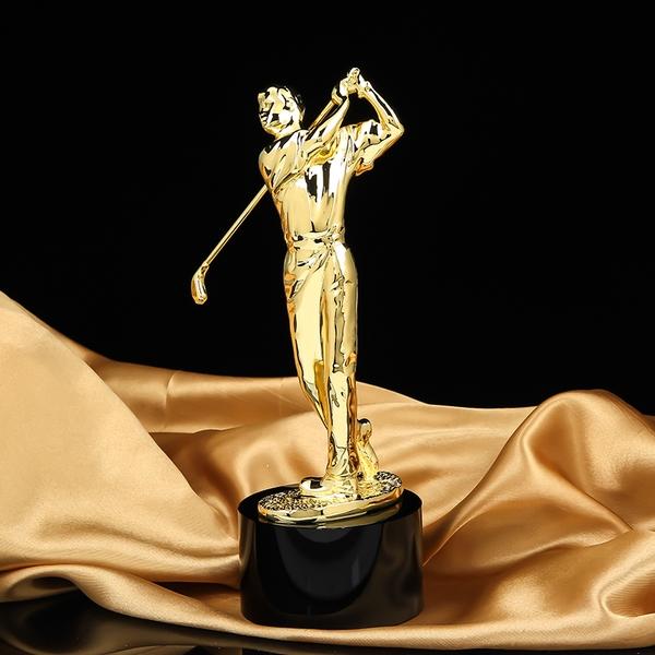 Cúp golf bằng đồng mạ vàng 24k 26 cm