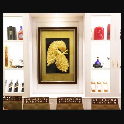 Tranh vàng 24k Chim công biểu tượng vinh hoa phú quý