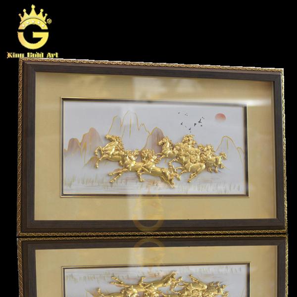Tranh phong thủy mã đáo thành công, tranh vàng bát mã