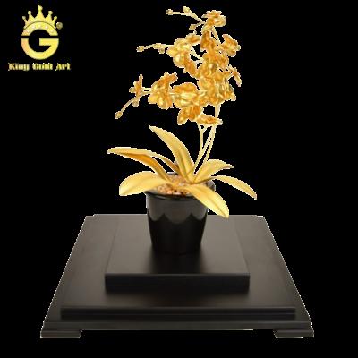 Quà tặng chậu hoa lan mạ vàng 24k đẹp tinh xảo