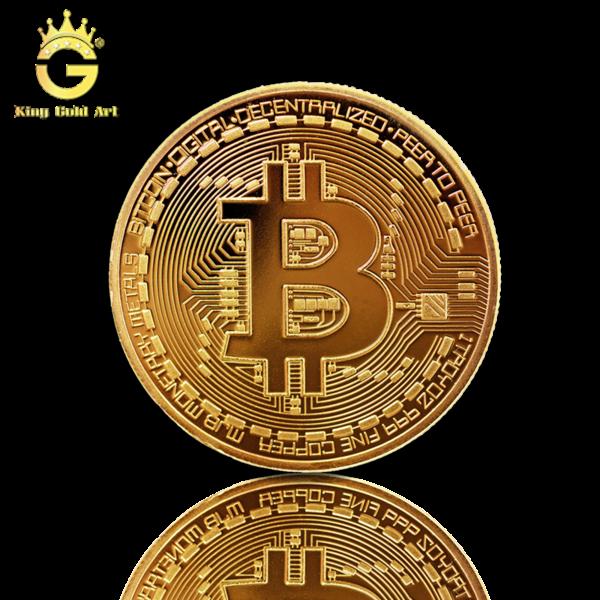 Chế tác đồng Bitcoin vàng dk 4 cm