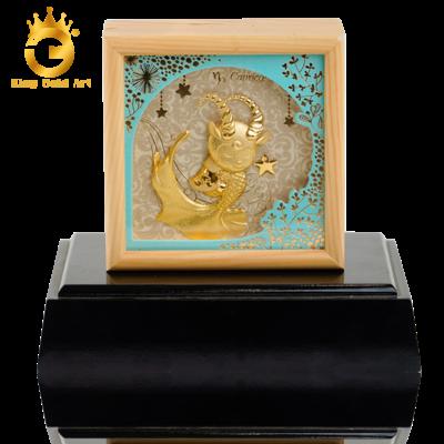 Quà tặng 12 cung hoàng đạo - Tranh Cung Ma Kết dát vàng 24k