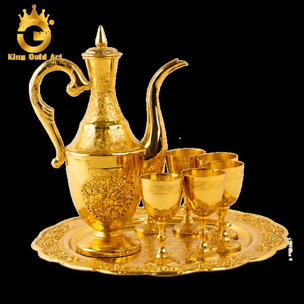 Bộ ly uống rượu bằng đồng mạ vàng cao cấp, sang trọng