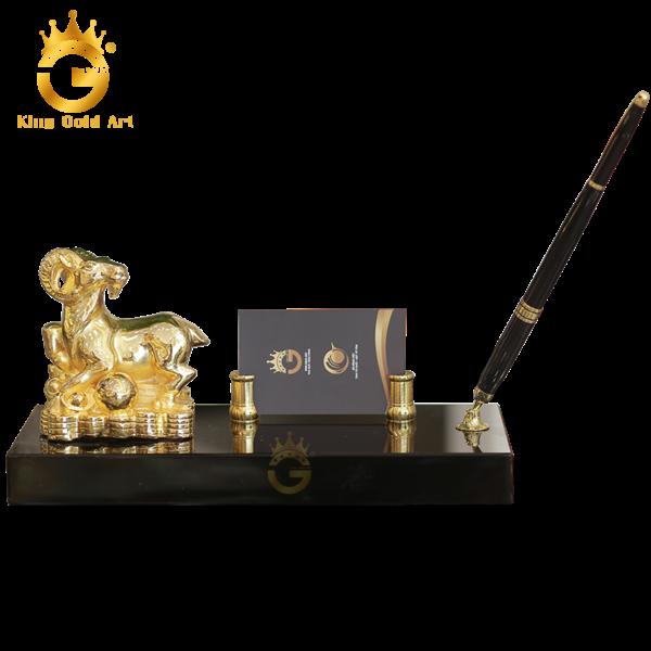 Đế cắm bút tượng dê mạ vàng 24k tinh xảo