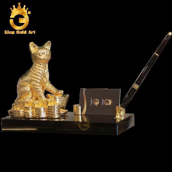 Đế cắm bút tượng mèo mạ vàng 24k
