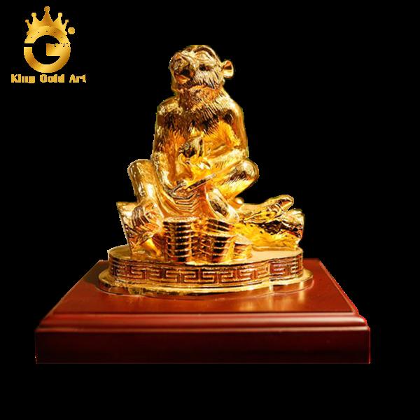 Tượng khỉ đồng mạ vàng 24k tinh xảo